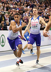 Team Great Britain during the Men's 4x400m Relay Final during day three of the European Indoor Athletics Championships at the Emirates Arena, Glasgow.