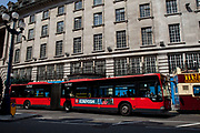 Bendy Bus on Regent Street, central London. Controversial public transport.