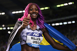 BRUSSELS, Sept. 1, 2018  Shaunae Miller-Uibo of Bahamas celebrates after the women's 200m race at the IAAF Diamond League athletics meeting in Brussels, Belgium, Aug. 31, 2018. Shaunae Miller-Uibo claimed the title in a time of 22.12 seconds. (Credit Image: © Zheng Huansong/Xinhua via ZUMA Wire)