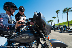 Steve Scheibner ready to head out on a test ride of a new Street Glide from the Harley-Davidson display during Daytona Bike Week, FL, USA. March 8, 2014.  Photography ©2014 Michael Lichter.