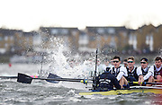 Putney - Chiswick, London,  Great Britain.<br /> The rough water, hidding the Cambridge as the pull away from Oxford, by Chiswick Eyot, during the <br /> 2016 University Boat Race, Oxford vs Cambridge, Putney. Putney  to Mortlake, Championship Course. River Thames.<br /> <br /> Sunday  27/03/2016 <br /> <br /> [Mandatory Credit; Peter SPURRIER/Intersport-images]