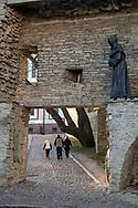 Tallinn, Estonia - February 24, 2020: Short Leg Gate tower on Toompea Hill in Tallinn, Estonia.