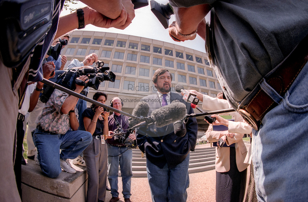 US Secretary of Energy Bill Richardson sporting a new beard speaks to the press about allegations concerning the nuclear weapons plant in Paducah, KY August 10, 1999 in Washington, DC.