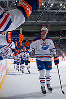 PENTICTON, CANADA - SEPTEMBER 8: The Edmonton Oilers celebrate a goal against the Calgary Flames on September 8, 2017 at the South Okanagan Event Centre in Penticton, British Columbia, Canada.  (Photo by Marissa Baecker/Shoot the Breeze)  *** Local Caption ***