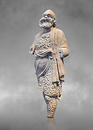 Roman statue of Silenus or Papposilenus from the second half of the 2nd cent. AD excavated from the Villa Marittima, Torre Astura Italy.  Silenus was the tutor to Dionysus is portrayed here as he was portrayed on stage in the Roman theatres. His mask is that of the theatre and he is wearing a lambskin cloak and hairy tights.  Inv 135769, The National Roman Museum, Rome, Italy .<br /> <br /> If you prefer to buy from our ALAMY PHOTO LIBRARY  Collection visit : https://www.alamy.com/portfolio/paul-williams-funkystock/roman-museum-rome-sculpture.html<br /> <br /> Visit our ROMAN ART & HISTORIC SITES PHOTO COLLECTIONS for more photos to download or buy as wall art prints https://funkystock.photoshelter.com/gallery-collection/The-Romans-Art-Artefacts-Antiquities-Historic-Sites-Pictures-Images/C0000r2uLJJo9_s0