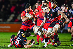 Alafoti Faosiliva of Worcester Warriors in action - Mandatory by-line: Craig Thomas/JMP - 02/02/2018 - RUGBY - Rodney Parade - Newport, Gwent, Wales - Dragons v Worcester Warriors - Anglo Welsh Cup