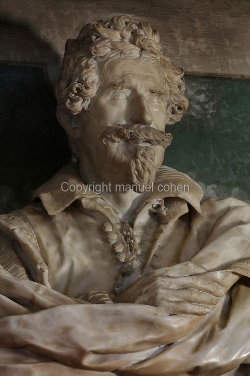 Bust of Michelangelo Buonarroti the Younger, nephew of Michelangelo Buonarotti, detail, by Giuliano Finelli, 1601-53, in Casa Buonarotti, the 17th century palace home of the Buonarotti family, on Via Ghibellina in Florence, Tuscany, Italy. The building is now a museum dedicated to the work of Michelangelo Buonarotti. The historic centre of Florence is listed as a UNESCO World Heritage Site. Picture by Manuel Cohen