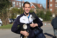 AFC Wimbledon defender Paul Robinson (6) arriving during the EFL Sky Bet League 1 match between AFC Wimbledon and Bristol Rovers at the Cherry Red Records Stadium, Kingston, England on 17 February 2018. Picture by Matthew Redman.