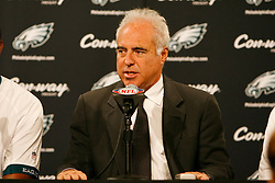 Philadelphia Eagles Owner Jeffrey Lurie speaks during a press conference announcing Randall Cunningham and Al Wistert's induction into The Eagles Honor Roll before the NFL game between the Kansas City Chiefs and the Philadelphia Eagles on September 27th 2009. The Eagles won 34-14 at Lincoln Financial Field in Philadelphia, Pennsylvania. (Photo By Brian Garfinkel)
