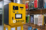 An ATM that can be used to exchange regular currency for the popular cryptocurrency Bitcoin stands faulty in a market stall on 10th August, 2021 in Leeds, United Kingdom. Bitcoin is a popular decentralised digital currency that allows anonymous trading through a network of cryptographic nodes.