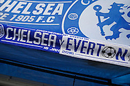 Chelsea v Everton half-half scarfs are displayed outside Stamford  Bridge. Barclays Premier league match, Chelsea v Everton at Stamford Bridge in London on Saturday 16th January 2016.<br /> pic by John Patrick Fletcher, Andrew Orchard sports photography.