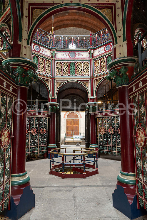 Well preserved Victorian ornamental cast iron at Crossness Pumping Station on the 22nd September 2019 in London in the United Kingdom. Built by Sir Joseph Bazalgette for Londons sewage system and opened in 1865, Crossness Pumping Station is a Grade 1 Listed building.