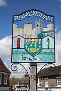 Town sign of Framlingham, Suffolk, England, UK