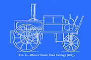 design of a Rhodes' Steam Road Carriage (1863) from the book ' Motor cars; or, Power carriages for common roads ' by Alexander James Wallis-Tayler,  Published in London, by Crosby Lockwood & son 1897