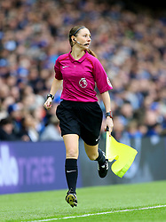"""Assistant referee Sian Massey-Ellis during the Premier League match at the AMEX Stadium, Brighton. PRESS ASSOCIATION Photo. Picture date: Saturday March 31, 2018. See PA story SOCCER Brighton. Photo credit should read: Gareth Fuller/PA Wire. RESTRICTIONS: EDITORIAL USE ONLY No use with unauthorised audio, video, data, fixture lists, club/league logos or """"live"""" services. Online in-match use limited to 75 images, no video emulation. No use in betting, games or single club/league/player publications."""
