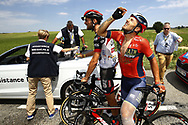 Sabotaged by protesting farmers, Sonny Colbrelli (ITA - Bahrain - Merida) during the 105th Tour de France 2018, Stage 16, Carcassonne - Bagneres de Luchon (218 km) on July 24th, 2018 - Photo Luca Bettini / BettiniPhoto / ProSportsImages / DPPI