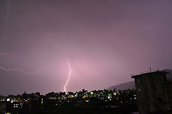 May 4, 2017 - Kathmandu, NP, Nepal - Lightning flashes illuminates the sky over during a thunderstorm over Panga, Kirtipur, Kathmandu, Nepal on Thursday, May 04, 2017. (Credit Image: © Narayan Maharjan/NurPhoto via ZUMA Press)
