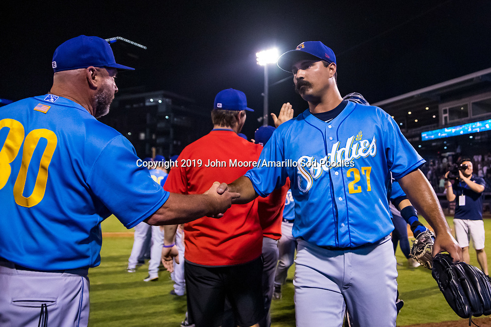 Amarillo Sod Poodles pitcher Travis Radke (27) after the game against the Tulsa Drillers during the Texas League Championship on Saturday, Sept. 14, 2019, at OneOK Field in Tulsa, Oklahoma. [Photo by John Moore/Amarillo Sod Poodles]