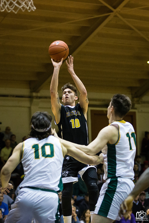 San Francisco State guard Coley Apsay (10) shoots a jumper against the San Francisco Dons at Kezar Pavilion in San Francisco, Calif., on December 6, 2016. (Stan Olszewski/Special to S.F. Examiner)