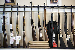 June 6, 2017 - Rifles for sale at Gunrunner Gun Shop and Shooting Range in Merced, Calif., on Tuesday, June 6, 2017. Currently, California residents can only purchase one hand gun every 30 days. If passed, SB-497 would include long guns. (Credit Image: © Andrew Kuhn/The Merced Sun Star via ZUMA)