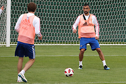 MOSCOW, July 4, 2018  Russia's Alexander Samedov (R) attends a training session in Moscow, Russia, on July 4, 2018. Russia will face Croatia in a quarter-final match of the 2018 FIFA World Cup on July 7. (Credit Image: © Bai Xueqi/Xinhua via ZUMA Wire)