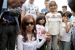 May 6, 2017 - Athens, ATTICA, Greece - Former Argentinean president Cristina Fernandez de Kirchner, talks with children,  during her visit to the Eleonas refugee camp, in Athens, Greece on Sunday May 6, 2017. Approximately 18,000 refugees are now in Athens, at the Eleonas camp which houses  about 2.000 mostly Afghan refugees, the average age is 20 years old. (Credit Image: © Panayotis Tzamaros/NurPhoto via ZUMA Press)