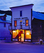 Yukon Hotel, two story log building with facade of milled lumber, built in 1898, Klondike Gold Rush town of Dawson City, Yukon Territory, Canada.