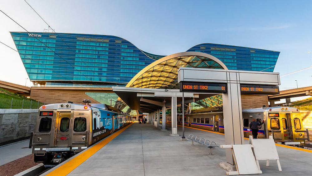 The train station at Denver International Airport, Denver, Colorado USA. The RTD Train to the Plane connects the airport with Denver Union Station in Downtown Denver.