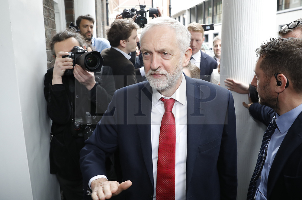 © Licensed to London News Pictures. 12/05/2017. London, UK. Jeremy Corbyn arrived to make a speech at Chatham House. Photo credit: Peter Macdiarmid/LNP