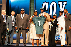 The Philadelphia Eagles first round Draft pick Fletcher Cox poses for a picture with his guests during the first round of the NFL Draft on April 26th 2012 at Radio City Music Hall in New York, New York. (AP Photo/Brian Garfinkel)