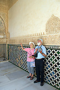 Details of latticework and fretwork in the Courtyard of the Myrtles, the Comares Palace, The Alhambra Palace, Granada