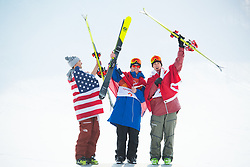 February 18, 2018 - Pyeongchang, South Korea - Medalists NICK GOEPPER of the United States, silver, OYSTEIN BRAATEN of Norway, (gold), and ALEX BEAULIEU-MARCHAND of Canada celebrates on the awards stand following Mens Ski Slopestyle finals Sunday, February 18, 2018 at Phoenix Snow Park at the Pyeongchang Winter Olympic Games.  Photo by Mark Reis, ZUMA Press/The Gazette (Credit Image: © Mark Reis via ZUMA Wire)