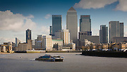 andy spain architectural photography<br /> canary wharf docklands london boat thames towers finance banking credit crunch recession fat cat bonus