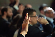 A participant asks a question in the Press Conference: IMF World Economic Outlook Update session at the World Economic Forum Annual Meeting 2020 in Davos-Klosters, Switzerland, 22 January. Congress Centre - Press Conference Room. Copyright by World Economic Forum/ Greg Beadle