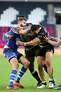 St Helens prop forward Alex Walmsley (8) is tackled during the Betfred Super League match between Hull FC and St Helens RFC at Kingston Communications Stadium, Hull, United Kingdom on 16 February 2020.