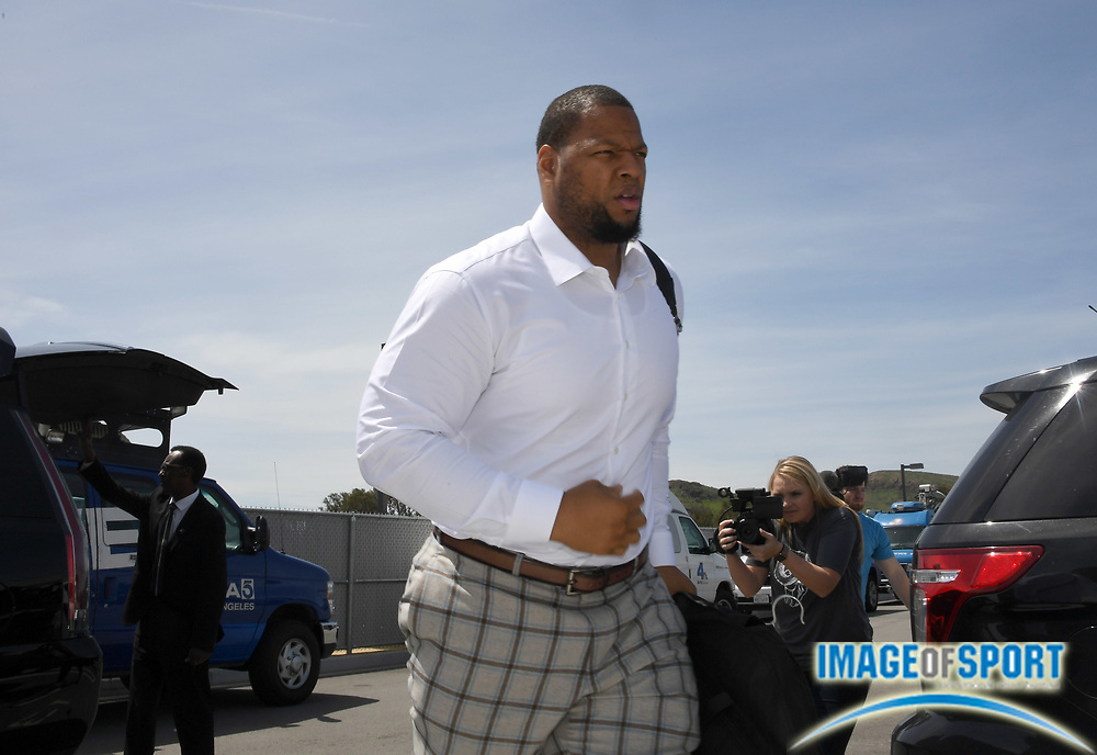 Apr 6, 2018; Thousand Oaks, CA, USA; Los Angeles Rams defensive tackle Ndamukong Suh arrives at a press conference at Cal Lutheran.