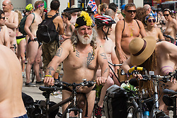 Westminster Bridge, London, June 11th 2016. Hundreds of naked and semi-naked cyclists participate in the World Naked Bike Ride that takes place in cities around the world, to highlight the alternatives to hydrocarbon fuels.