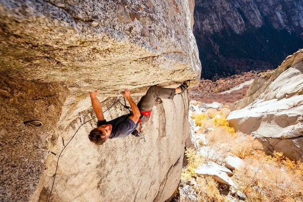 Mike Kaserman climbs Center Trinity, 5.13a, Little Cottonwood Canyon, Utah.