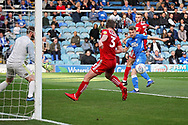 Peterborough United forward Matt Godden (9) puts this chance wide of the goal during the EFL Sky Bet League 1 match between Peterborough United and Accrington Stanley at London Road, Peterborough, England on 20 October 2018.