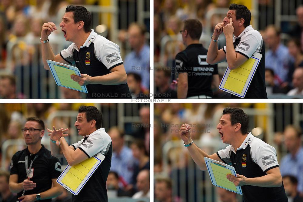 19-01-2015 GER: Portret Giovanni Guidetti bondscoach Nederland vrouwenteam<br /> Donderdag zal de Nederlandse volleybalbond de nieuwe bondscoach voor de vrouwen presenteren / <br /> 11.09.2014, Halle Berg Fidel, Muenster<br /> Volleyball, Laenderspiel, Deutschland vs. Belgien<br /> <br /> Giovanni Guidetti (Trainer / Bundestrainer GER)<br /> <br /> *****NETHERLANDS ONLY*****