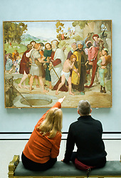Visitors study Frescoes from the Casa Bartholdy in Rome at the Alte Nationalgalerie in Berlin Germany
