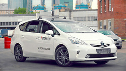 May 30, 2017 - Moscow, Russia - May 30, 2017. - Russia, Moscow. - Yandex's on-demand transportation service Yandex.Taxi unveils its self-driving car. The driverless car incorporates Yandex's own technologies some of which, such as mapping, real-time navigation, computer vision and object recognition, have been functioning in a range of the company's services for years. The self-driving vehicles ability to make decisions in complex environments, such as busy city traffic, is ensured by Yandex's proprietary computing algorithms, artificial intelligence and machine learning. Photo: strategiclight.com (Credit Image: © Russian Look via ZUMA Wire)