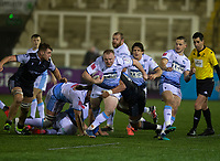 Rugby Union - 2020 / 2021 ERRC Challenge Cup - Newcastle Falcons vs Cardiff Blues - Kingston Park<br /> <br /> Ethan Lewis of Cardiff Blues is tackled by Darren Barry of Newcastle Falcons<br /> <br /> COLORSPORT/BRUCE WHITE