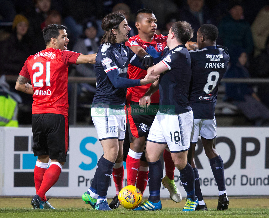 Tempers flair during the Scottish Premiership match at Dens Park Stadium, Dundee.