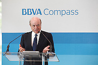 Francisco Gonzalez speaks prior to a ribbon cutting at the BBVA grand opening in Houston