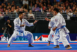 November 11, 2018 - Madrid, Madrid, Spain - Spain Team figth with Japan Team for golg medal and win the tournament of male Kata Team during the Finals of Karate World Championship celebrates in Wizink Center, Madrid, Spain, on November 11th, 2018. (Credit Image: © AFP7 via ZUMA Wire)
