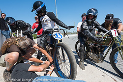 Start of another heat - Bill Rodencal (L), Brittney Olsen (13) and Moonshiner Josh Owens (R) in Billy Lane's Son's of Speed race during Daytona Bike Week. New Smyrna Beach, FL. USA. Saturday March 18, 2017. Photography ©2017 Michael Lichter.