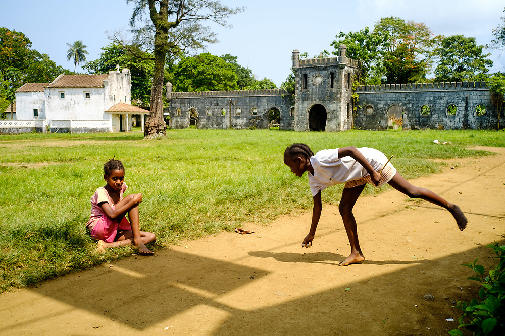 Children playing at Roça Sundy, in Príncipe island