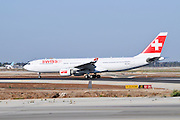 Israel, Ben-Gurion international Airport SWISS passenger jet ready for takeoff