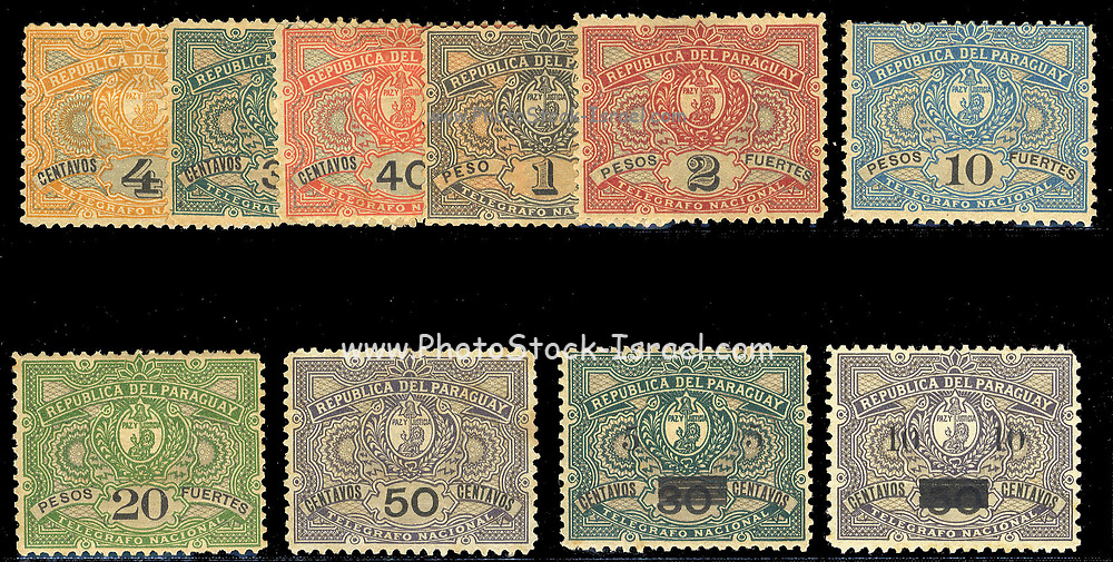 Postage and telegraph stamps of Paraguay. The two on the bottom right are telegraph stamps overprinted for postal use in 1900, the others are solely for telegraph use. between 1892 and 1902